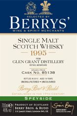1995 Berrys' Own Selection Glen Grant, Speyside, Single Malt Whisky