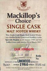 1984 Linkwood, Speyside, Single Malt Whisky, 55.8%