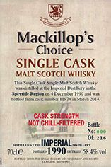1990 Imperial, Speyside, Single Malt Scotch Whisky (58.4%)