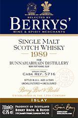 1989 Berrys' Own Selection Bunnahabhain, Islay, Single Malt Whisky, 42.9%
