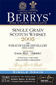 2005 Berrys' Strathclyde Single Grain, Grain Whisky, (58.7%)