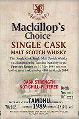 1989 Tamdhu, Speyside, Single Malt Scotch Whisky (45.4%)