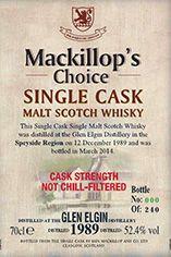 1989 Glen Elgin, Speyside, Single Malt Whisky, 52.4%