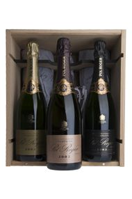 Champagne Pol Roger 2002 Vintage Mixed Case (2 each Brut, BDB, Rosé)