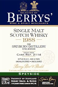 1988 Berrys' Own Selection Speyburn, Single Malt Whisky